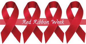 Four red ribbons strung together with text that reads Red Ribbon Week